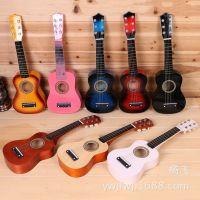 8色木质儿童乐器益智早教玩具21寸多彩宝宝弹拨乐器可弹奏吉它