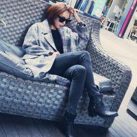 韩国原单东大门官网毛呢外套 西装领加厚格子长款时尚女士外套潮