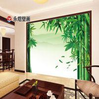 无缝3d墙布厂家直销 工程装饰大型壁画电视背景墙 绿色竹子壁画