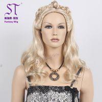 欧洲复古贵族女士假发 工厂定制假发 进口化纤发丝 金色长卷发