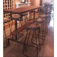 新款铁艺实木吧台椅酒吧桌椅复古酒吧椅靠背高脚椅铁艺椅子酒吧桌