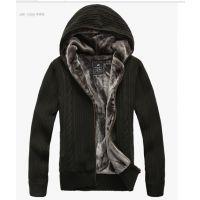 2014秋冬新款男式毛衣  加绒加厚纯色外套男式潮针织开衫