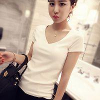 夏女士短袖t恤v领修身上衣纯白色女装大码纯棉打底衫韩版潮可印图