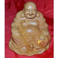 厂家供应 汽车摆件黄杨木雕人物雕塑定制 高端收藏品 坐布袋弥勒