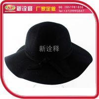 小辣椒欧美英伦复古纯羊毛呢大檐帽圆顶礼帽子韩国秋冬季女黑色
