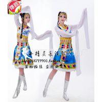 藏族舞蹈服装女 民族水袖演出服 西藏歌舞服长款 舞台表演服特价