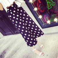小银子2015夏装新款时尚垂坠感显瘦波点九分阔腿裤女K5118