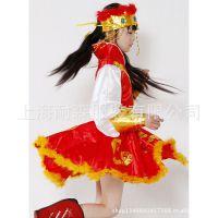 上海 女文艺民族演出服装定做定制 春节元宵晚会舞蹈服金黄色红色