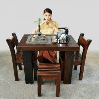 福州茶桌椅组合批发 特价中式实木仿古茶台榆木茶桌功夫茶几简约泡茶桌