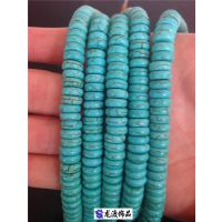 宝石天然绿松石原矿色 绿松石藏式三通佛头佛珠 隔片一条批发