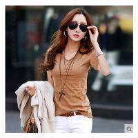 韩国官网同款2015夏装新款日韩女装V领短袖大码修身显瘦打底T恤女