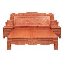 誉典福面向全国供应刺猬紫檀大脚百子床 养生古典卧室红木家具