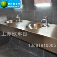 不锈钢台面 盥洗室不锈钢柜子 不锈钢浴室柜 不锈钢洗漱台定制