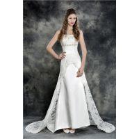 2015新款新娘婚纱礼服简约双肩吊带蕾丝缎面修身显瘦鱼尾新娘婚纱