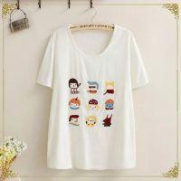 夏季短袖t恤女打底衫 2015新款韩版棉麻卡通9个人头女t恤 女