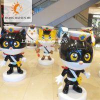 玻璃钢雕塑黑猫警长卡通树脂模型道具租赁展览定做