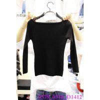 韩国女装代购 东大门进口批发 2015春款纯色长袖一字领百搭打底衫