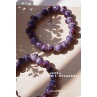 手作陶瓷手链首饰 嫣紫色甲虫烙印 手工串珠手链zakka饰物z0077