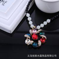 厂家直销韩版七彩宝石花时尚项链 闪钻水晶毛衣链 批发供应.