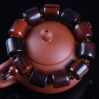 天然藏式牦牛角桶珠佛珠手串琥珀色牛角手链精品收藏17mm男士文玩