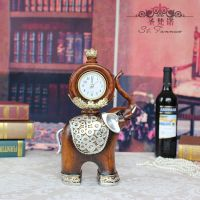 创意礼品 仿木纹树脂工艺品 大象座钟 时钟摆件 厂家批发 SF1050