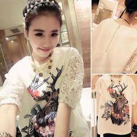 2015新款韩版大码上衣女装 显瘦宽松蕾丝短袖t恤打底衫