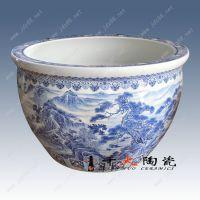 千火陶瓷 手绘青花山水陶瓷大缸