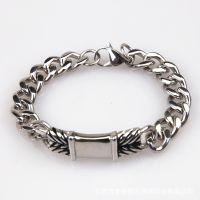 时尚韩国风钛钢铸造抹油弯牌手链 潮男单扭不锈钢不退色环保手环