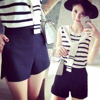 小银子2015夏装新款百搭简约好版型挺括显腿长侧开叉短裤女K5154