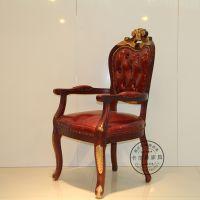 新古典椅子 欧式金银箔餐椅 酒店餐厅家具实木雕刻扶手椅 休闲椅