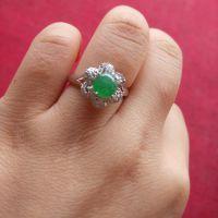 有利珠宝 天然翡翠A货冰种阳绿翡翠戒指 18K白金满钻戒指4730