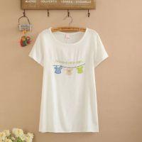 2015夏季新款 森女系日系女装小花猫刺绣简约棉麻圆领短袖T恤 女