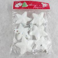 圣诞节装饰礼品 雪沫五角星 圣诞树挂饰圣诞用品 1包6个