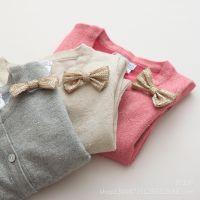2015春款童装批发 3色入 女童亮片蝴蝶结金丝针织开衫 儿童小外套