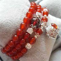 正品批发天然红玛瑙925纯银手链手串 女款多层 东海天然水晶手链