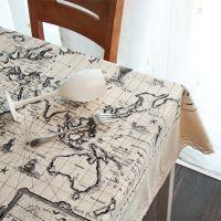 棉麻 世界地图 桌布枕批发 定位印花 现货供应