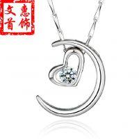 淘宝热卖 S925纯银女款月亮代表我的心项链韩版时尚心形吊坠批发
