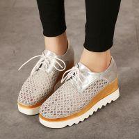 2015年夏季夏季新款欧美镂空洞洞网布坡跟松糕鞋厚底女鞋单鞋批发