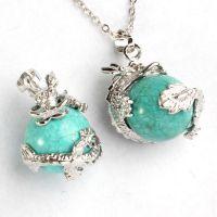 【厂家直销】天然水晶天然宝石吊坠 欧美爆款时尚镀银绿松石吊坠