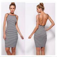 2015新款欧美速卖通ebay吊带露背包臀条纹连衣裙外贸原单女装批发