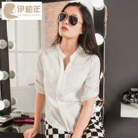 韩国夏季雪纺衬衫翻领中袖女装衬衣批发一件代发东大门新款衬衫女