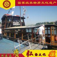 香港海南哪里有古色古香的水上餐饮船卖 泓港木船厂家出售画舫木船 观光旅游船 仿古客船