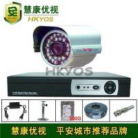 1路监控套餐 4路硬盘录像机 50米监控系统 D1网络监控 配500G