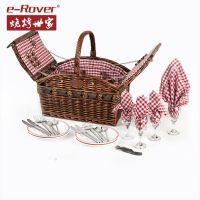 烧烤世家柳藤编野餐篮户外购物收纳竹篮带盖置物篮清洁篮