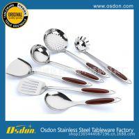 不锈钢厨具七件套 烹饪勺铲 双尖木纹柄 创意家具礼品 厨房小工具