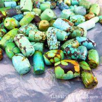 天然绿松石桶珠 原矿打磨  松石原石 星月菩提隔珠配珠