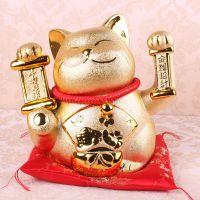 新款日本陶瓷招财猫摆件 店面风水装饰品陶瓷工艺品批发J08