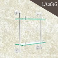 LA2616 太空铝双层玻璃置物架 浴室化妆品架 卫浴挂架 挂件套装