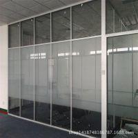 办公室铝合金隔断墙 郑州双玻百叶高隔断钢化玻璃隔断量大从优