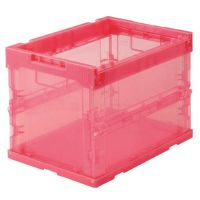 日本中山/TRUSCO中国总代理 PP材质 可折叠可摞放 透明收纳箱 20L 透明红(TRS20R)